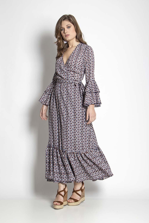 4e8c0a4dde77 Maxi φόρεμα με γεωμετρικό pattern - Maxin Fashion