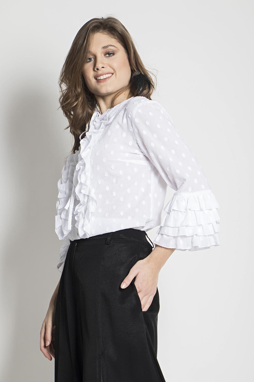 6d01387041f7 Πουκάμισο πουά με βολάν - Maxin Fashion